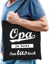 Cadeau tas zwart katoen met de tekst Opa je bent fantastisch - kadotasje voor opa's