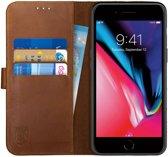 Rosso Deluxe Apple iPhone 7 Plus / iPhone 8 Plus Hoesje Echt Leer Book Case Bruin | Ruimte voor drie pasjes | Opbergvakje voor briefgeld | Handige stand functie | Magneetsluiting