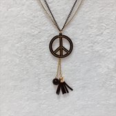 Fashionidea - Mooie goudkleurige ketting met zwart hangers multi layher