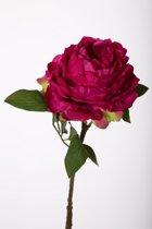 Pioenroos - zijden bloem - rood - topkwaliteit - 49cm