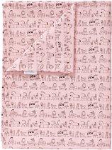 Dekenhoes ledikant dierprint roze