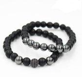 Victorious - Armband Zwarte Natuurstenen - Geslepen & Gepolijst - Zwarte Zirkonia Kristallen - Geschikt voor polsdikte: 15 t/m 17cm