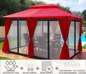 Partytent - 4x3 - Waterdicht Dak - Zijwanden - Insectennet - Solar - Bordeaux Rood Paviljoen
