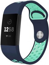 123Watches.nl Fitbit charge 3 sport band - donkerblauw lichtblauw - ML