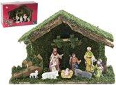Kerststal hout met 9 kunststof figuren. 40cm. (2113)