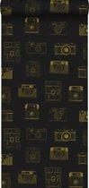 krijtverf vliesbehang polaroid camera's zwart en glanzend goud - 128825 ESTAhome.nl