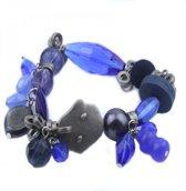 Armband - Elastisch - Blauw & Zilverkleurig - Musthaves