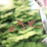 Vogelsilhouet op Bloesemtak Cortenstaal - By Aimy Birds - 32 x 11 cm BxH