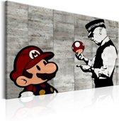 Schilderij - Mario en politieagent op beton , Banksy , betonlook