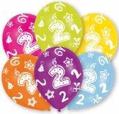 2 jaar leeftijd ballonnen 6 stuks - verjaardag versiering