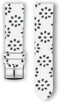 100% katoenen horlogeband met leder (achterzijde) Flowery 22 mm