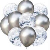 Confetti ballonnen zilver set 10 stuks!| 30 centimeter | Zilveren confetti ballonnen| Verjaardag of andere feesten