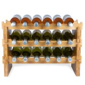 KitchenBrothers Bamboe Wijnrek Voor 18 flessen - 3 delig Bamboo Flessenrek Modulair en Stapelbaar - Flessenhouder Staand - Blank Hout