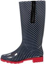 eddf6027ed0 Lange/hoge dames regenlaarzen blauw met grijze hartjes - Rubberen laarzen/regenlaarsjes  dames 40