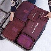 Beefree Koffer organiser 6-delig Wijnrood, formaat handbagage    Travel bag   Reis organizer   Opgeruimde koffer   Kledinghoes   Reistas