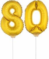 Gouden opblaas cijfer 80 op stokjes - verjaardag versiering / jaar