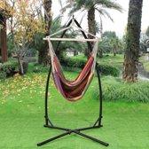 [casa.pro]® Katoenen hangstoel met standaard - meerkleurig