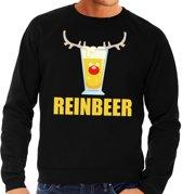 Foute kersttrui / sweater met bierglas Reinbeer zwart voor heren - Kersttruien L (52)