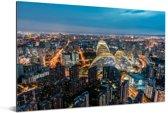 Luchtfoto van de miljoenenstad Beijing Aluminium 90x60 cm - Foto print op Aluminium (metaal wanddecoratie)