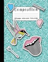Composition: Wide ruled education composition notebook for students and teachers at school, college or home - Turquoise glitter cov