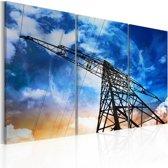 Schilderij - Energie, Blauw, 2 Maten, 3luik