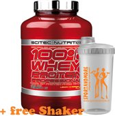 Scitec Nutrition - 100% Whey Protein Professional - With Extra Key Aminos and Digestive Enzymes - 2350 g - Aardbei-Witte Chocolade + sportandmore shaker