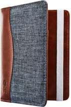 Jeans style RFID Paspoort hoesje / Paspoorthouder Blauw - Cognac