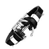Montebello Armband Burcin - Heren - PU Leer - Messing - Anker - 20 cm