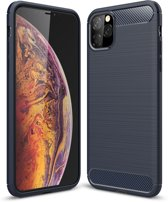 Mobigear Brushed Carbon Fiber Shockproof Hoesje Navy Blauw iPhone 11 Pro Max