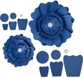 Papieren bloemen, d: 15+25 cm, 230 gr, blauw, 2stuks