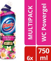 Glorix WC Powergel Pink Flower Toiletreiniger- 6 x 750 ml