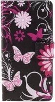 Mesh - Apple iPhone 4(s) - Wallet Case Hoesje Vlinders Zwart