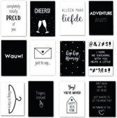 Set van 12 zwart-wit kaarten - geschikt als verjaardagskaart, felicitatiekaart, kaart bij verhuizing of geboorte, condoleancekaart en meer