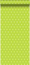 behang sterren lime groen - 114941 van ESTAhome.nl