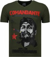Local Fanatic Che Guevara Comandante - Rhinestone T-shirt - Groen - Maten: XXL