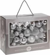 86-Delige plastic kerstballen Set Zilver