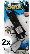 2x stuks Politie speelgoed pistolen 35 cm - combat/militair speelgoed verkleed wapens