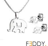 Ketting en oorbellen set olifant