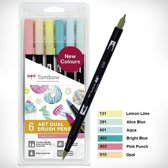 Tombow ABT Dual - Brush tekenpennen - Candy kleuren - Set van 6