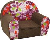 Luxe kinderstoel - kinderfauteuil - sofa - 60 x 45 - bruin - bloemen