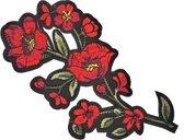 Strijk embleem 'Bloemen large patch' – stof & strijk applicatie