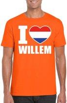 Oranje I love Willem shirt heren - Oranje Koningsdag/ Holland supporter kleding M
