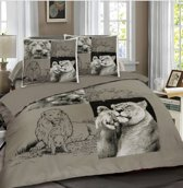 Dekbedovertrek Lions - Grijs Maat: 2-persoons (200 x 220 cm + 2 kussenslopen)