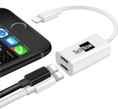 Kabel Adapter Splitter voor twee Lightning Poorten voor Apple iPhone XR / XS / XS Max / X / 8 en 8 Plus / 7 / 6 + voor Apple iPad - Muziek Luisteren en Opladen tegelijk - TechNow