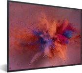 Foto in lijst - Kleurrijke poederpexplosie fotolijst zwart 40x30 cm - Poster in lijst (Wanddecoratie woonkamer / slaapkamer)
