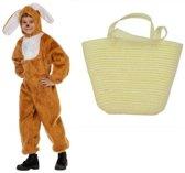 Paashaas verkleedpak maat 128 met mandje voor kinderen - Konijn/haas kostuum