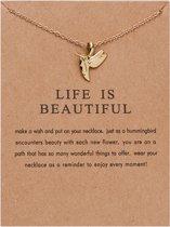 Life Is Beautiful Ketting - Kolibrie hanger aan ketting - Geluksketting - Hummingbird