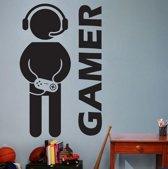 Muursticker gamer kinderkamer / zwart / stoer / jongenskamer