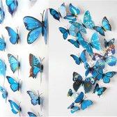 3D Vlinders Muurstickers (Blauw) - Vlinder Muursticker