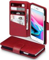 Qubits - luxe echt lederen wallet hoes - iPhone 7 / 8 - rood
